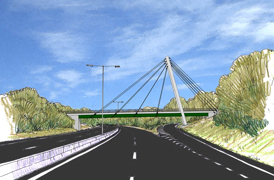 Concept art of overbridge on dual carriageway