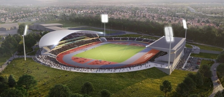 An aerial image of the redeveloped Alexander Stadium