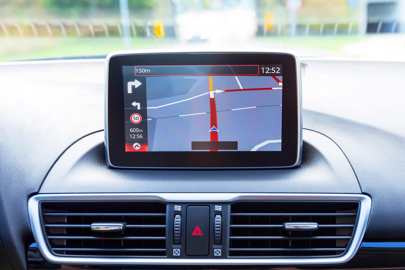 Sat Nav in car dashboard