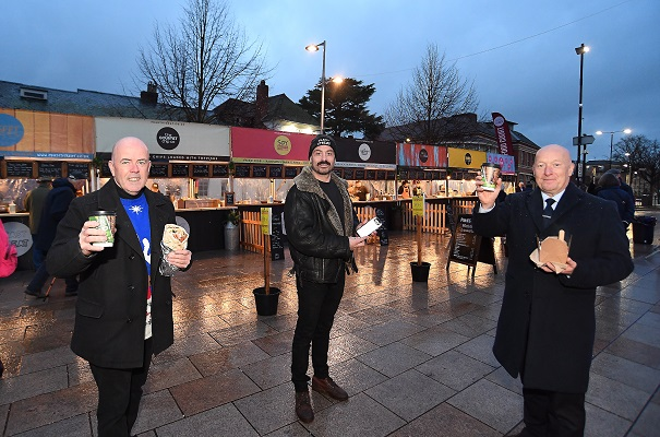 From left: Cllr Ian Shenton, Ryan Patrick, and Cllr Kevin Taylor (Stratford town councillor and chairman of Stratford Markets Forum)