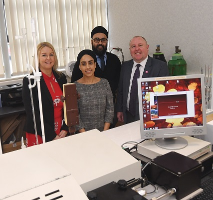 From the left, Justine Chadwick (CWLEP Growth Hub), Taran Kaur and Daya Singh (Exeter Analytical) and Cllr Jim O'Boyle (Coventry City Council)