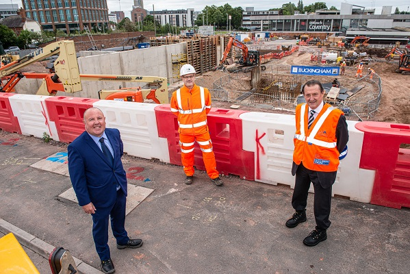 From the left, Cllr Jim O'Boyle (Coventry City Council), Marc Riley (Buckingham Group Contracting Ltd) and Nick Abell (Coventry and Warwickshire Local Enterprise Partnership)