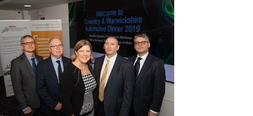 From the left, Derek Benfield (Envision AESC UK), Tony Harper (Faraday Battery Challenge), Marion Plant (CWLEP), Jeff Pratt (UKBIC) and Adam McGiveron (Shakespeare Martineau)