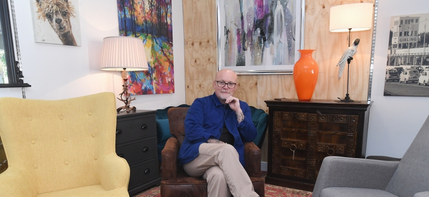 Frankie Johns at his new store in Henley-In Arden called 99 Design