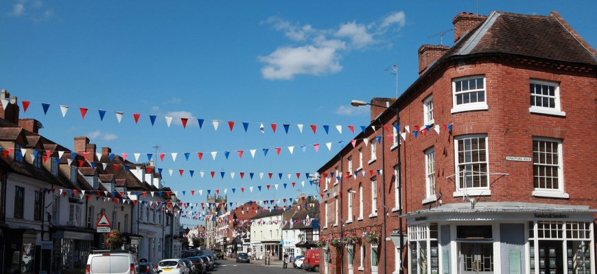 Alcester highstreet lined with bunting