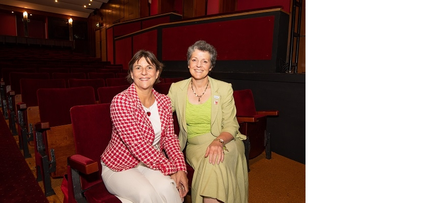 From the left, Helen Peters (CWLEP and Shakespeare's England) and Joanna Reid (Belgrade Theatre)