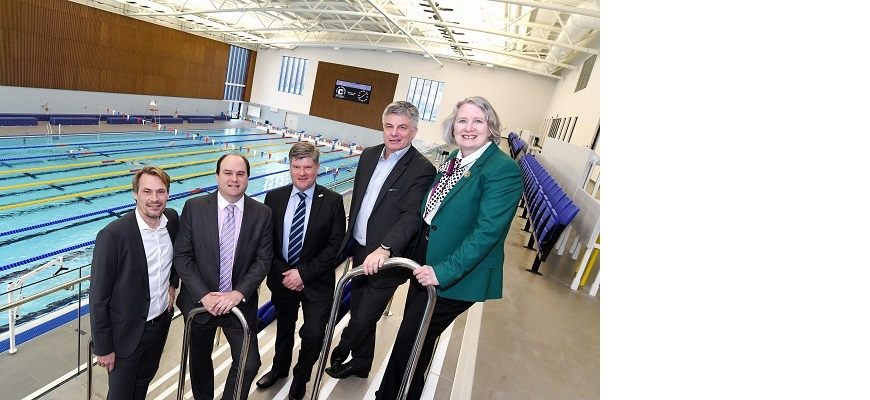 From left to right, Florian Niehaves, Steven Greenall, Nic Erskine (CW Champions), Paul Breed and Dame Stella Manzie at Alan Higgs swimming centre
