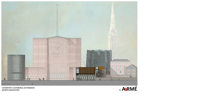 Coventry Cathedral North Elevation illustration
