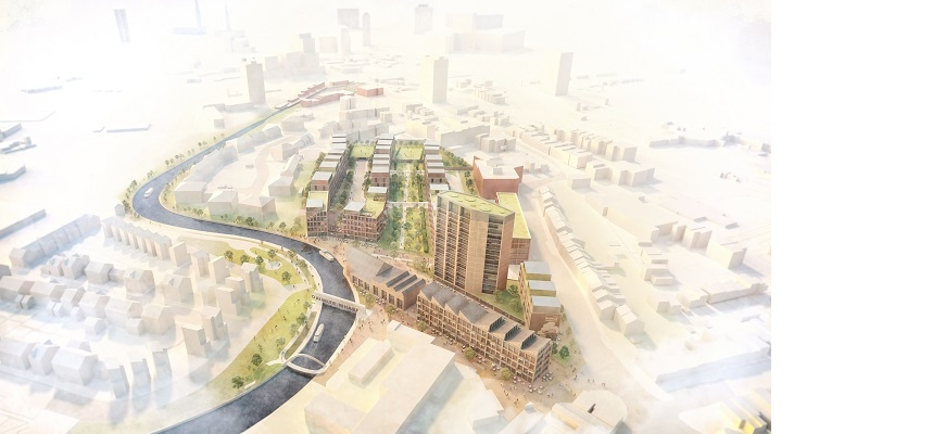 A computer-generated image of the proposed Daimler Wharf development