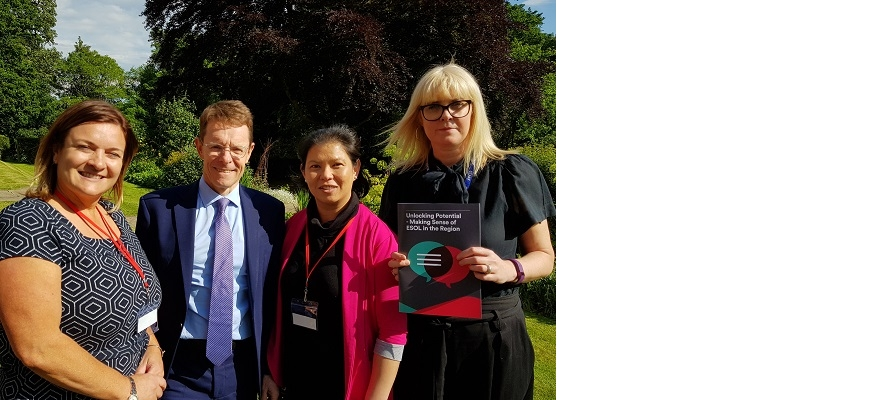 WMCA head of skills delivery Clare Hatton, Mayor of the West Midlands Andy Street, English as a second language learner Seong Chua from Wolverhampton, and principal and CEO of Fircroft College, Mel Lenehan, at the launch of the Unlocking Potential