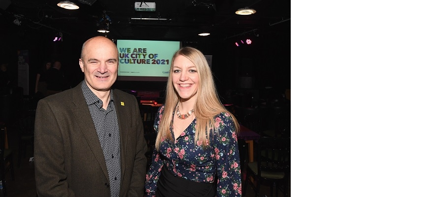 Alan Malik and Laura McMillan at an event earlier in 2020
