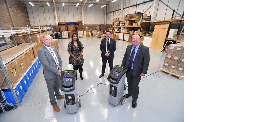 From the left, Oliver Canty (IC Solutions 24/7), Kierandeep Bal (Coventry City Council), Gary Thyeson (CWLEP Growth Hub) and Cllr Jim O'Boyle (Coventry City Council) at IC Solutions 24/7's new premises