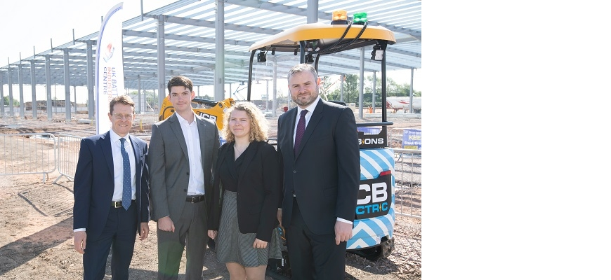 Andy Street and team members at the Battery Industrialisation Centre construction site in Coventry