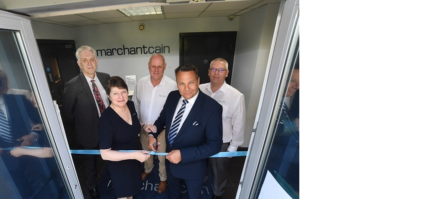 At MarchantCain's official opening last summer when they moved to Banner Park are, back, from the left, Phil Peak (CWLEP Growth Hub), Rob Marchant (MarchantCain) and Jim Griffin (MarchantCain). Front, Pam Cain (MarchantCain) and Craig Humphrey