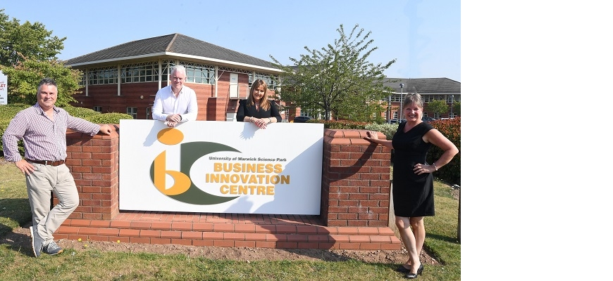 (left to right): Alexis Yates, Wayne Burgess, Lisa May (all Paramex) with Caroline Lloyd at the Business Innovation Centre