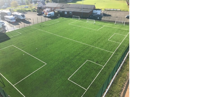 An aerial image of the training pitch and clubhouse at Racing Club Warwick