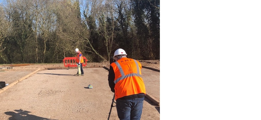 A trainer at RMF Construction is filmed showing learners how to check for cables below the ground, to ensure that it is safe to dig