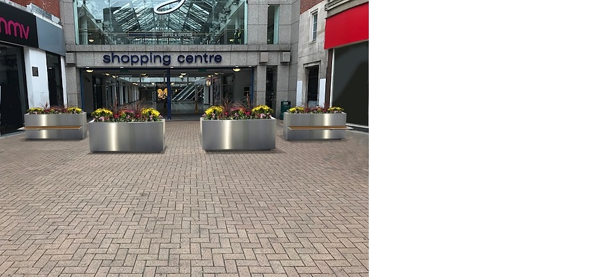 The Safetyflex universal slimline planter — the world's smallest crash-rated security planter — in situ outside a UK shopping centre.