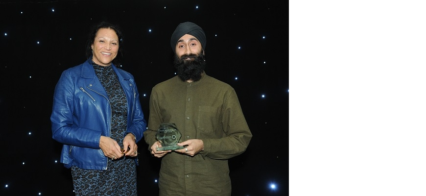 Deborah Cadman, CEO of the WMCA, presents Shuranjeet Singh with his Thrive West Midlands Mental Health Star 2019 award