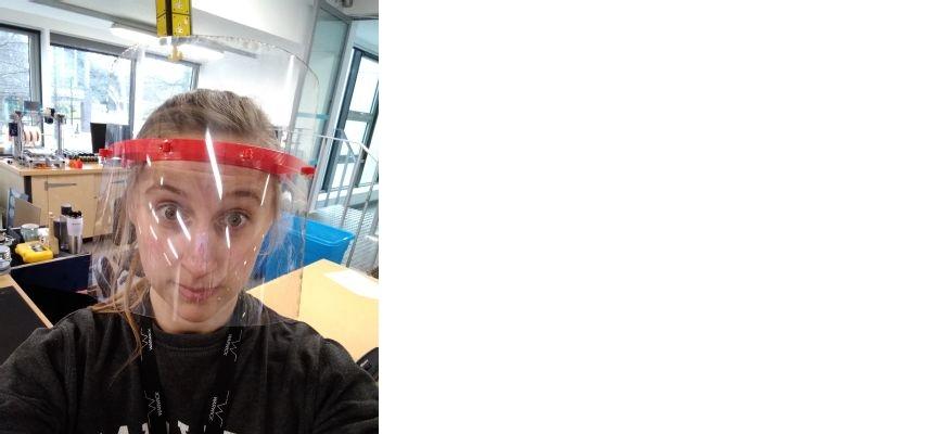 A student at Warwick university wearing PPE