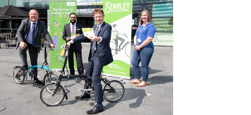 From the left, Cllr Jim O'Boyle, Coventry City Council cabinet member for jobs and regeneration, Sandeep Shingadia, TfWM's director of development and delivery, Mayor of the West Midlands Andy Street, and Megan Nass, curator of cycles and transport object