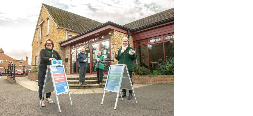 From left: Cllr Jo Barker (Shipston Foodbank), David Volrath and Hilary Volrath (Arden Foodbank) and Marion Homer (Stratford Foodbank) outside Stratford Methodist Church, where Stratford foodbank operates from