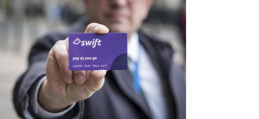 A man holds up a Swift card