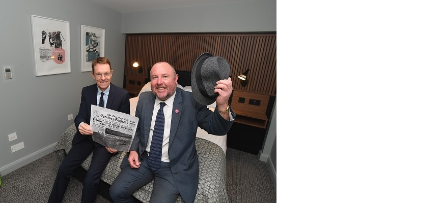 West Midlands Mayor Andy Street (left) with Cllr Jim O'Brien from Coventry City Council in hotel room