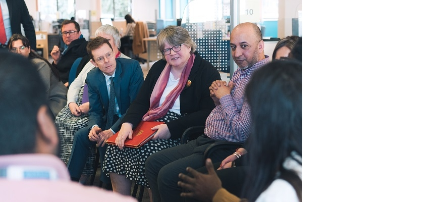 L-R Mayor of the West Midlands Andy Street, Secretary of State for Work and Pensions Thérèse Coffey and youth employability advisor Ali Nazakat are pictured at West Bromwich Jobcentre
