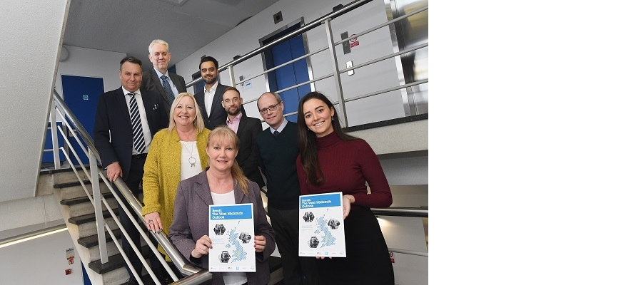 Back, from the left, Craig Humphrey and Phil Peak (CWLEP Growth Hub), Jaspal Sohal (Black Country Growth Hub). Alicia Law (BEIS), Ian McLaughlan (GBSLEP Growth Hub) and Kevin Aisbitt (Worcestershire Growth Hub). Front, Nicola Kent and Sarah Gambrall