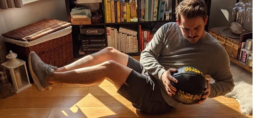 A man exercising at home