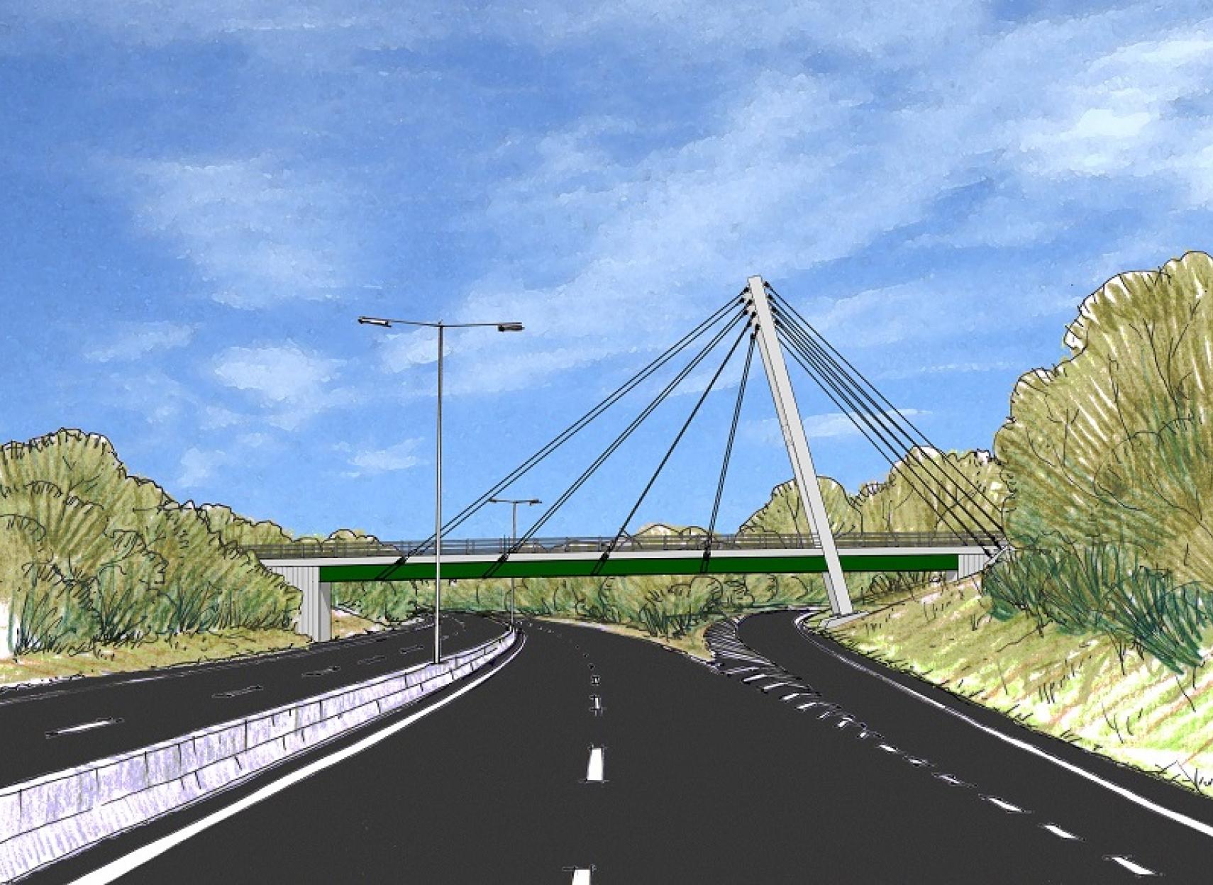 Concept art of overbridge on dual carriageway