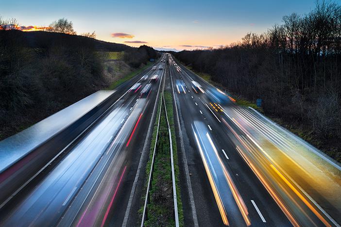 Blurred vehicles on motorway