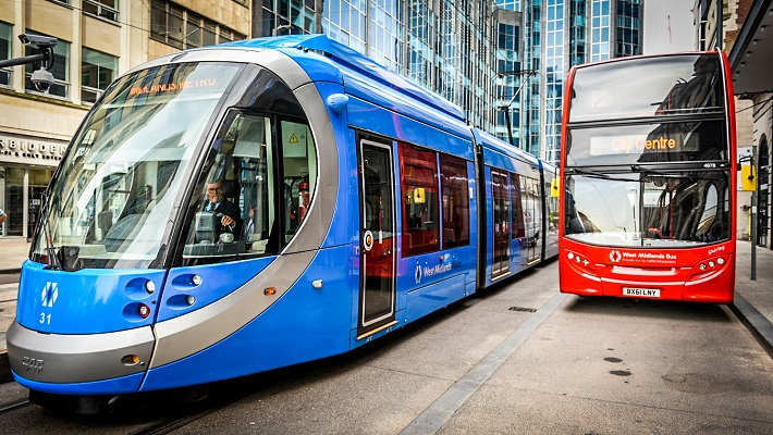 A London bus and tram
